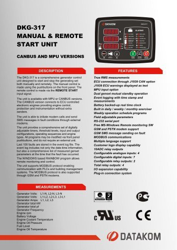 DKG-317 MANUAL & REMOTE START UNIT - Datakom