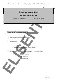 Sicherheitsdatenblatt M A G N E S I U M - Drahtwerk ELISENTAL
