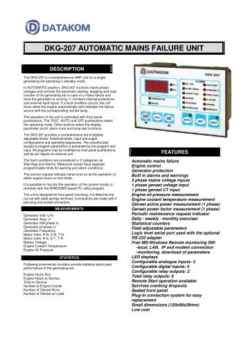 dkg-207 automatic mains failure unit - Home Mega Global Solution