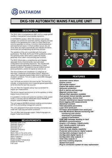 DKG-109 AUTOMATIC MAINS FAILURE UNIT - Datakom