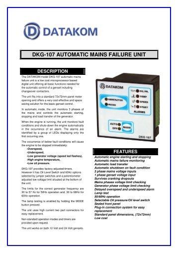 dkg-107 automatic mains failure unit - Mega Global Solution, PT