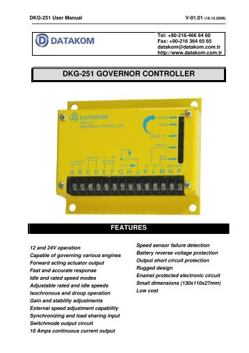 dkg-251 governor controller features - Datakom