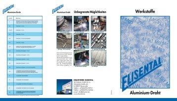 Aluminium-Draht Werkstofftabelle Einlage - Drahtwerk ELISENTAL