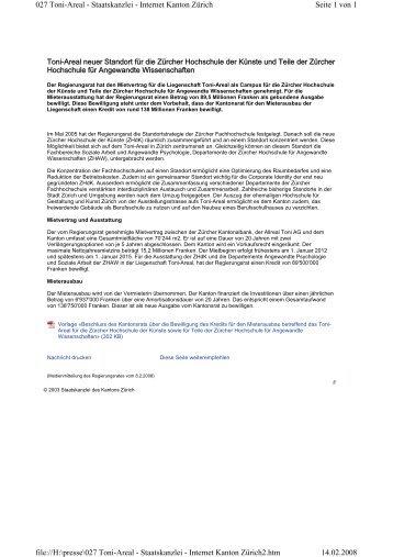Toni-Areal neuer Standort für die Zürcher Hochschule