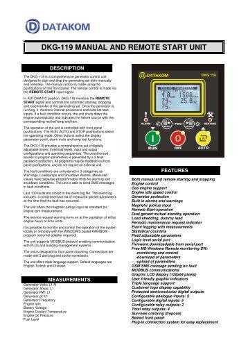 DKG-119 MANUAL AND REMOTE START UNIT - Datakom
