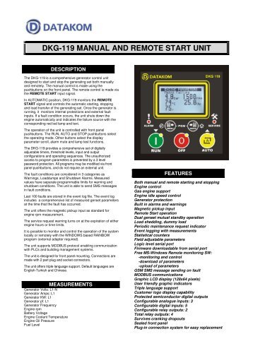 DKG-119 MANUAL AND REMOTE START UNIT - Datakom