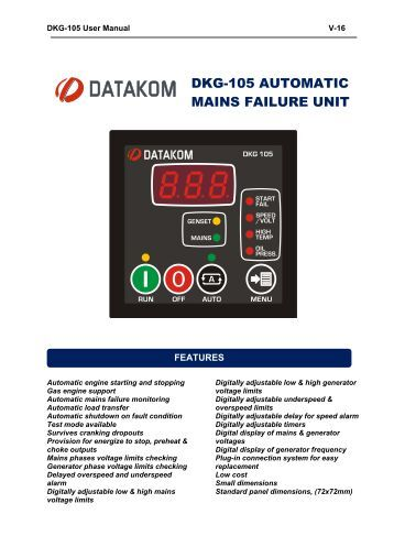 DKG-105 AUTOMATIC MAINS FAILURE UNIT - Datakom