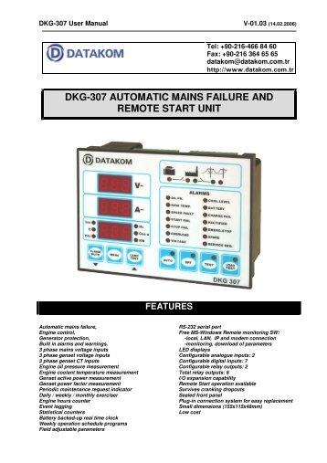 dkg-307 automatic mains failure and remote start unit - Dalet