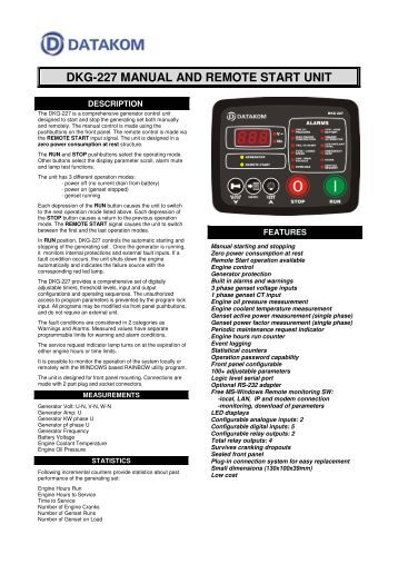 DKG-227 MANUAL AND REMOTE START UNIT - DATAKOM