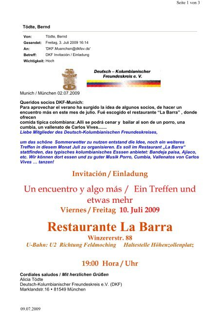 Restaurante La Barra - Deutsch-Kolumbianischer Freundeskreis eV