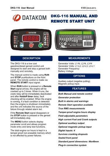 DKG-116 MANUAL AND REMOTE START UNIT - Datakom