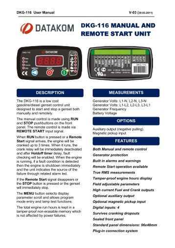 DKG-116 MANUAL AND REMOTE START UNIT - Datakom