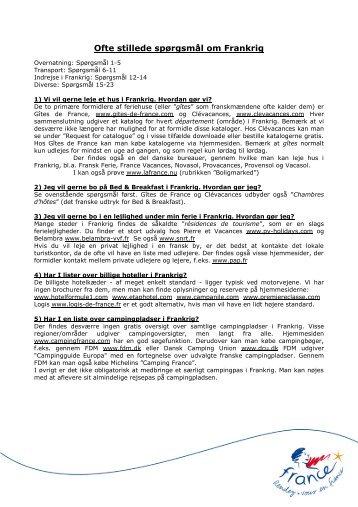 Ofte stillede spørgsmål om Frankrig - Maison de la France