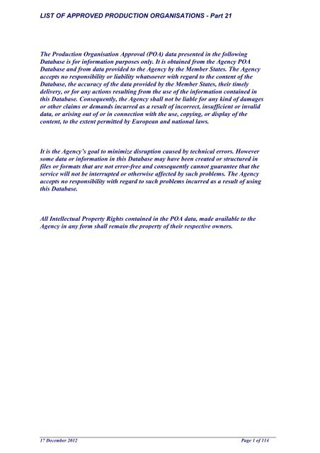 List Of Approved Production Organisations Easa