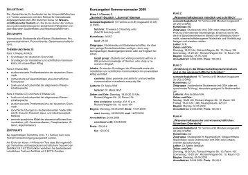 Sommersemester 2009 Studienbegleitende Deutschkurse