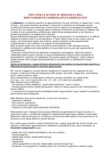 NOTA PER LE SCUOLE SU DISLESSIA E DSA: - Associazione ...