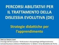 LA RIEDUCAZIONE DELLA DISLESSIA EVOLUTIVA (DE) Strategie ...