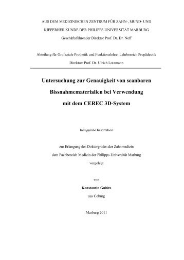 Untersuchung zur Genauigkeit von scanbaren - Philipps-Universität ...