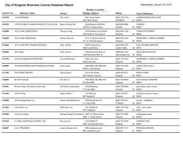 City of Kingman Business License Database Report