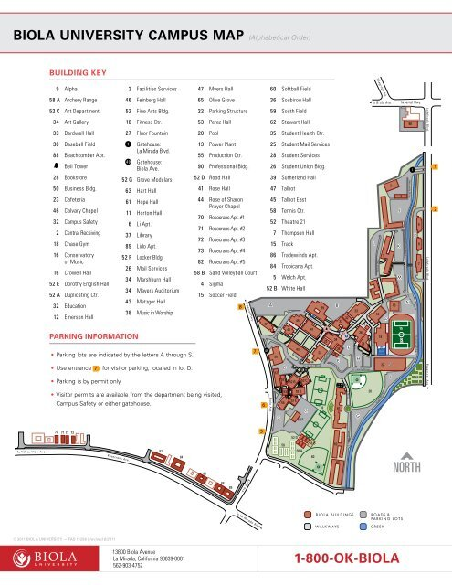Biola University Campus Map Alphabetical Order 1 800 Ok