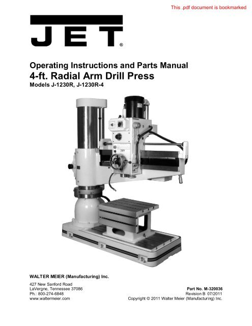 4-ft  Radial Arm Drill Press - JET Tools