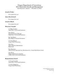 Oregon DOC Annual Awards - Individual Awards - State of Oregon