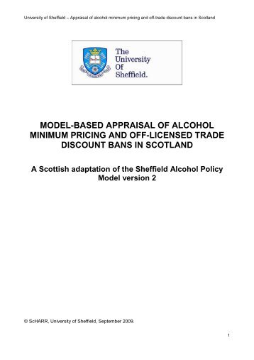 Model-Based Appraisal of Alcohol Minimum Pricing and - Scottish ...