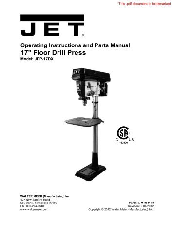 22 Inch Variable Speed Drill Press Jet Tools