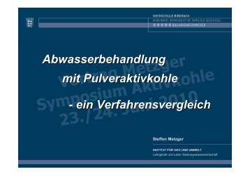 Vortrag Metzger Symposium Aktivkohle 23./24. Juni 2010 - DWA ...