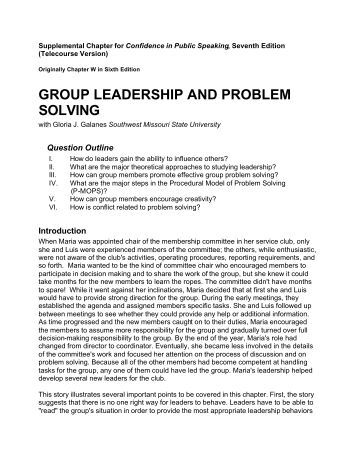Leadership and problem solving