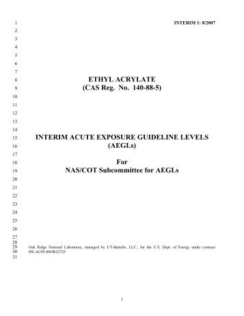 Ethyl Acrylate Interim AEGL Document - US Environmental ...