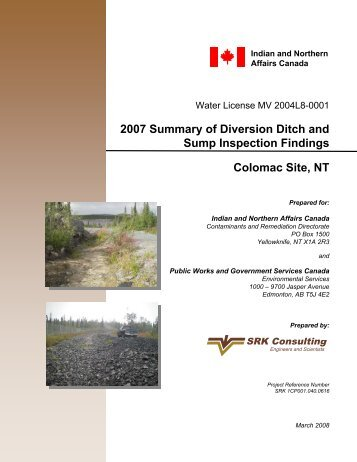 2007 Summary of Diversion Ditch and Sump Inspection Findings ...