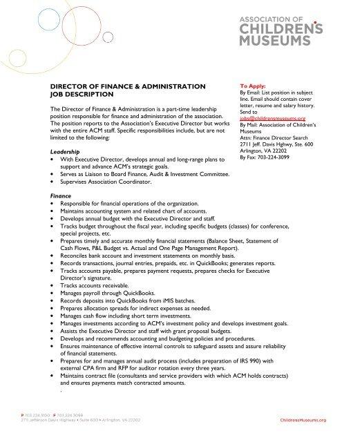 director of finance & administration job description - Association of ...
