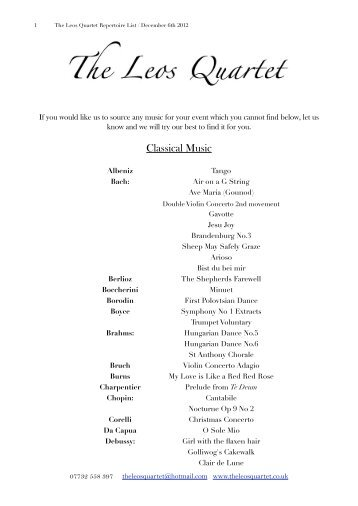 The Leos Quartet Repertoire List November 12