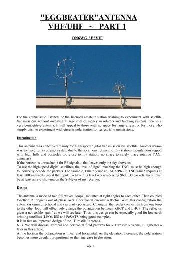 """""""eggbeater""""antenna vhf/uhf ~ part 1 - ON6WG / F5VIF Web Page"""