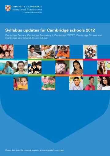Syllabus updates for Cambridge schools 2012