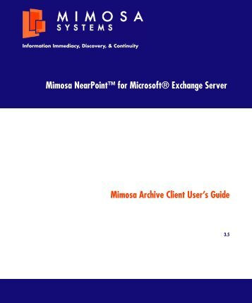 Mimosa Archive Client User's Guide - ITS