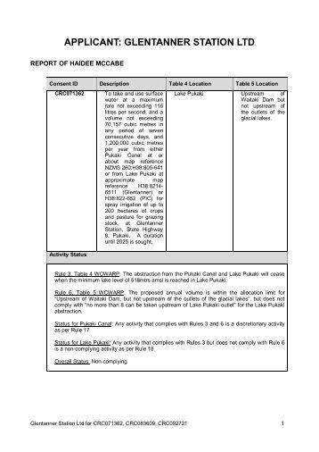 APPLICANT: GLENTANNER STATION LTD - Environment Canterbury