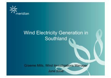 Wind Electricity Generation in Southland