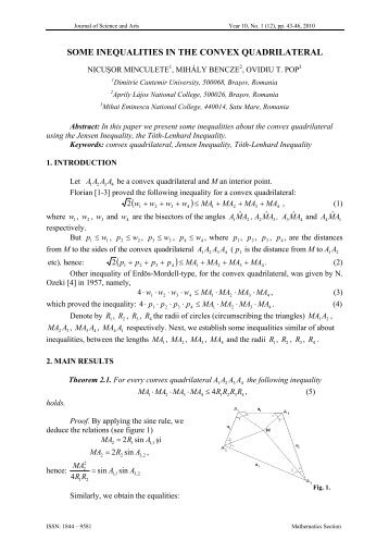 SOME INEQUALITIES IN THE CONVEX QUADRILATERAL - icstm