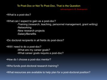 What can I expect to gain as a post-doc? - NCSU Student ...