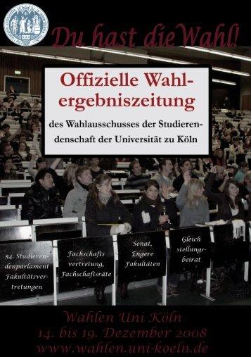 Wahlergebniszeitung - Wahlausschuss - Universität zu Köln
