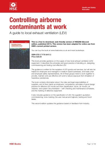 Controlling airborne contaminants at work A - Health and Safety ...