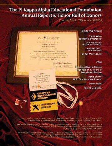 Autumn 2004 • SHIELD & DIAMOND - Pi Kappa Alpha Fraternity