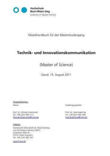 Technik- und Innovationskommunikation - Fachbereich ...