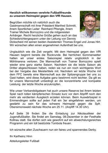 Echo Spiel gg. Hausen am 18.11.2012 - SV Waldkirch