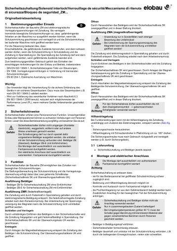 Sicherheitszuhaltung/Solenoid interlock/Verrouillage de ... - Elobau