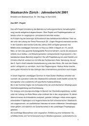 Staatsarchiv Zürich : Jahresbericht 2001 - Staatsarchiv - Kanton Zürich