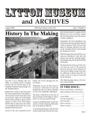 Lytton Museum and Archives Newsletter Volume 7 Issue 3