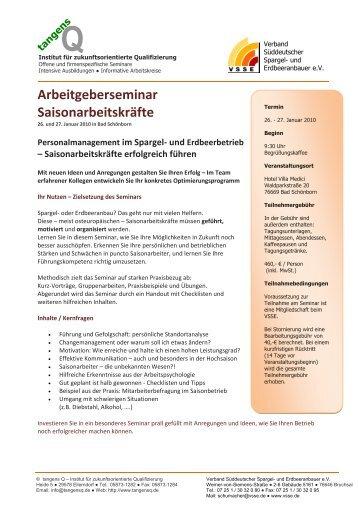 Arbeitgeberseminar Saisonarbeitskräfte - VSSE - Verband ...